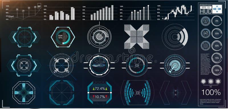 En stor packe av för skärmar, parallella och digitala för hud instrument för beståndsdelar, för diagram, radarvåg Abstrakta HUD vektor illustrationer