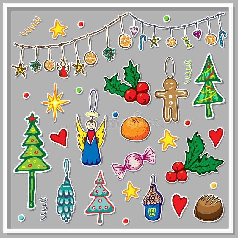 En stor samling julklistermärken Cute illustration av vinter- och julhelgselement Xmas-dockningslippets bilduppsättning royaltyfri bild