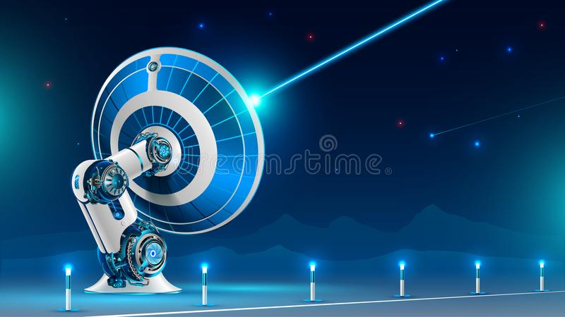 En stor satellit- maträtt sänder radiosignalen in i natthimlen i bergen Teknologin av global satellit- television a vektor illustrationer