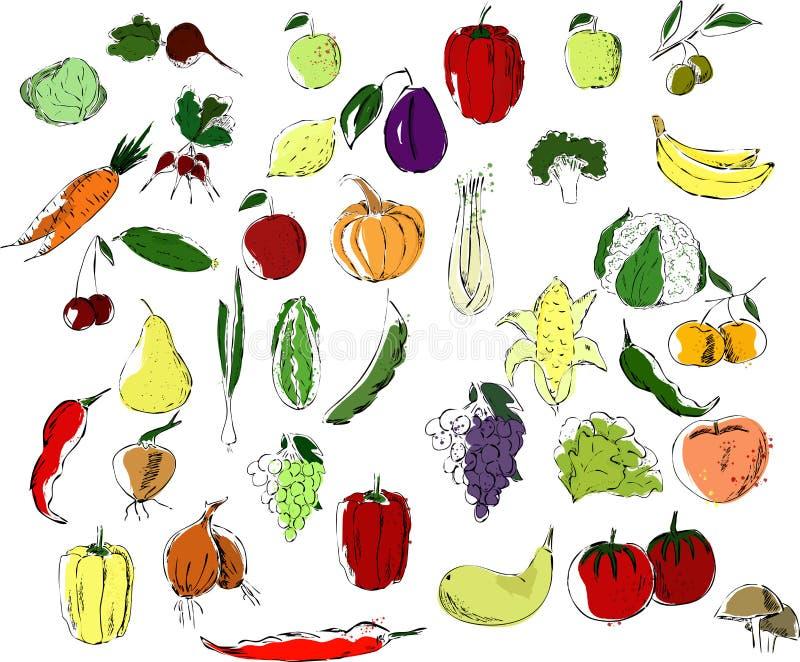 En stor uppsättning av flerfärgade frukter och grönsaker som är svarta på en vit bakgrund stock illustrationer