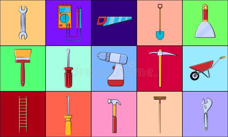 En stor uppsättning av objekt av konstruktionshjälpmedelsymboler för hem- reparationsskruvmejslar, skiftnycklar, hammare, stegar, royaltyfri illustrationer