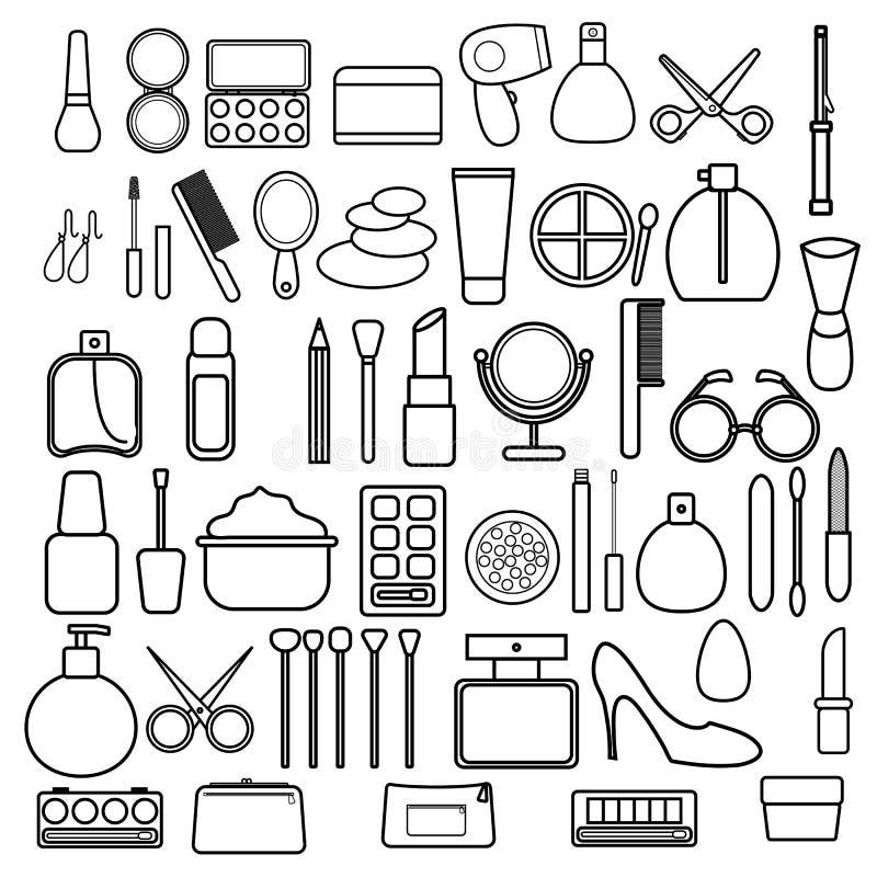 En stor uppsättning av svartvita symboler av enkelt linjärt trendigt glamoröst härligt hjälpmedel för makeup, hudomsorg, kosmetis royaltyfri illustrationer