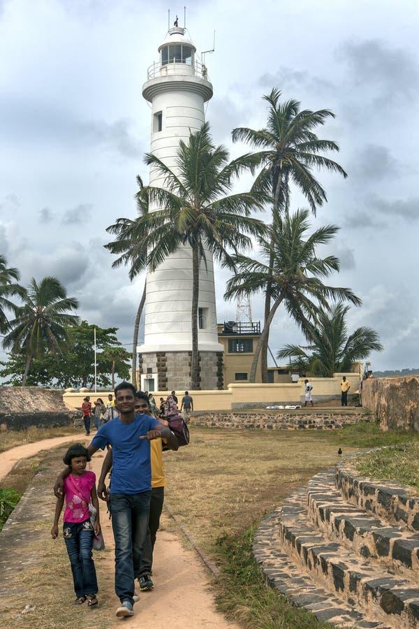 En storartad sikt som ser in mot fyren på den punktUtrecht bastionen på det Galle fortet i Sri Lanka arkivbilder
