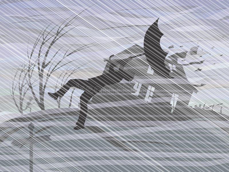 En storm och en hällregn royaltyfri illustrationer