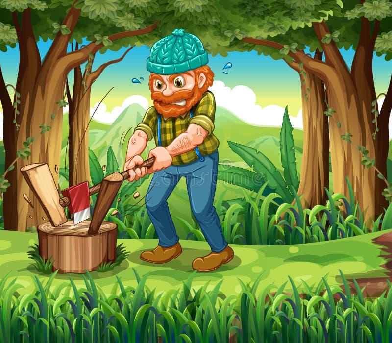En strävsam skogsarbetare på skogen vektor illustrationer