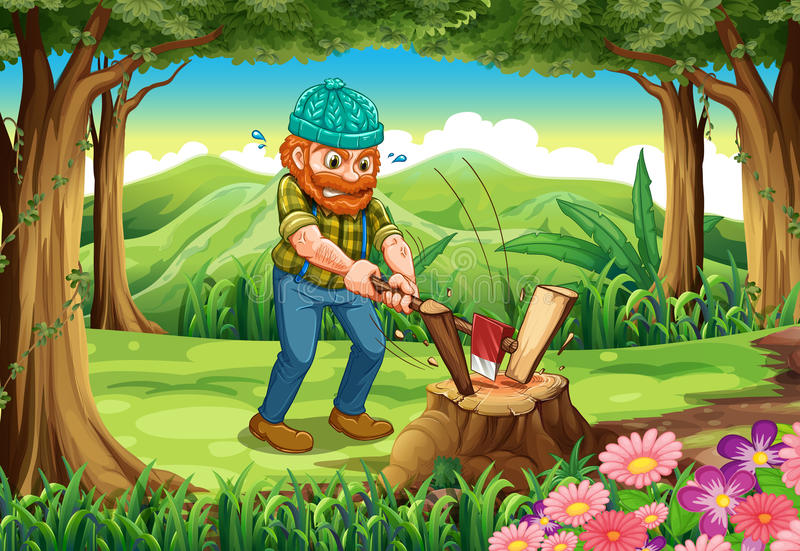 En strävsam skogsarbetare som hugger av trän på skogen stock illustrationer