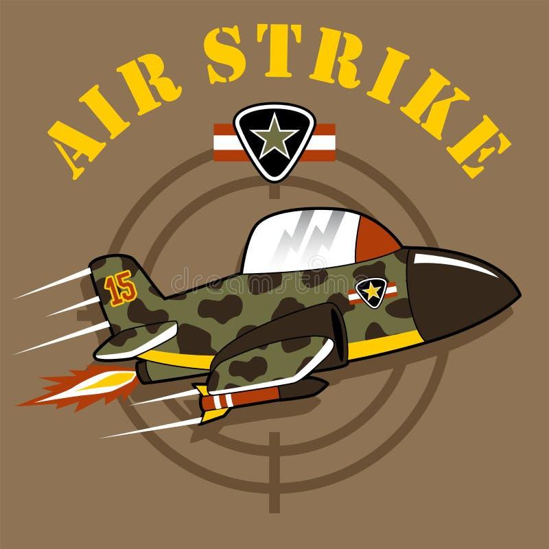 En stråltecknad film på militär flygshow med militär logo royaltyfri illustrationer
