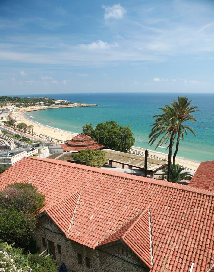 En strand i Tarragona, Spanien arkivbild