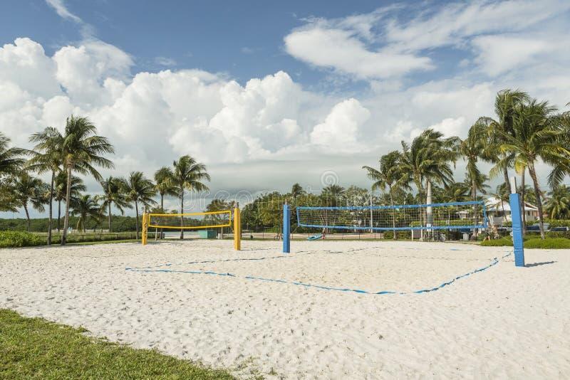 En strandvolleyboll förtjänar på en solig strand, med palmträd arkivbild