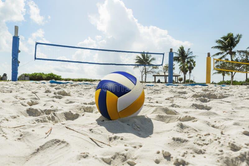 En strandvolleyboll förtjänar på en solig strand, med palmträd royaltyfri fotografi