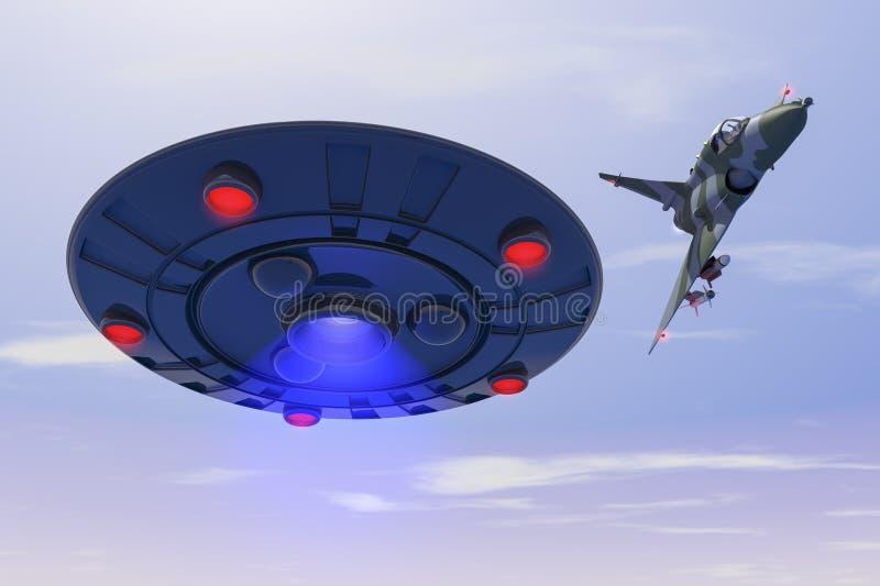 En stridstråle slår en ufo stock illustrationer
