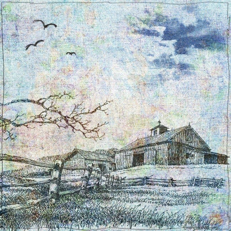 En stuga är i landet stock illustrationer