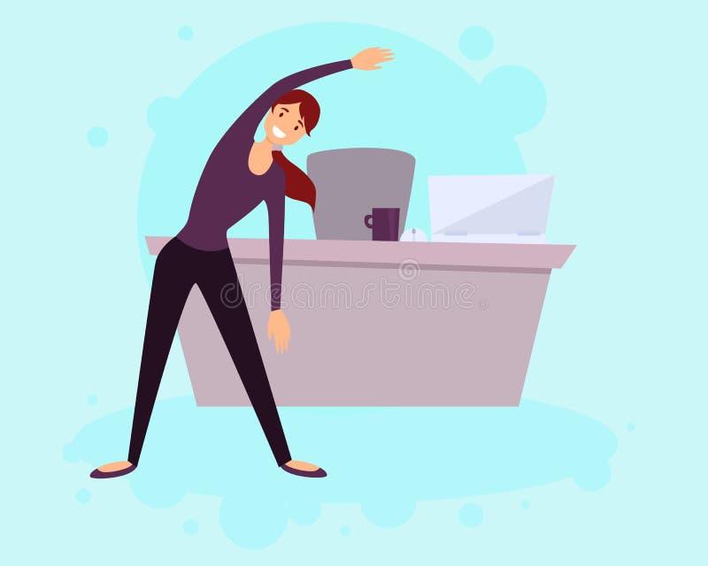 En sund livsstil i kontoret royaltyfri illustrationer