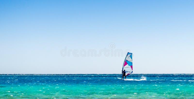 En surfare rider i R?da havet i Egyp arkivfoton