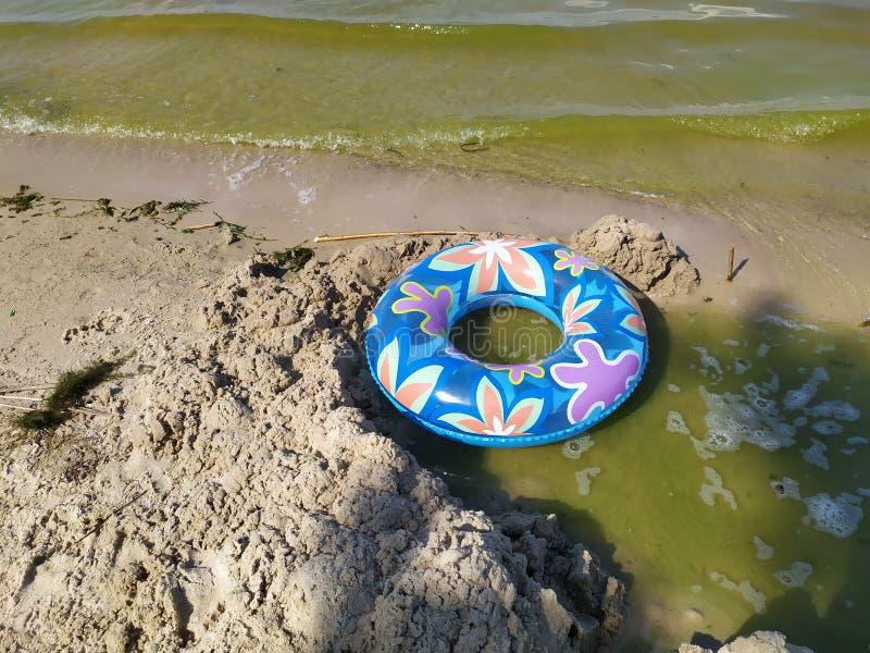 En sväva cirkel för barn ligger på den sandiga flodstranden nära vattnet arkivbild