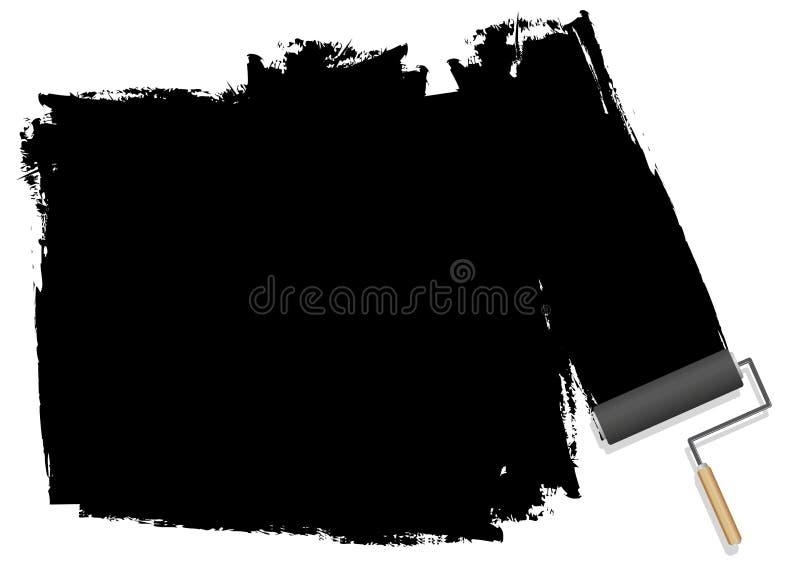En svart bakgrund som målas med en rulle vektor illustrationer