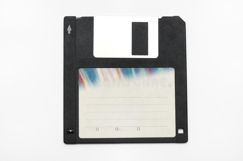 En svart datordiskettdiskett för datalagring arkivfoton