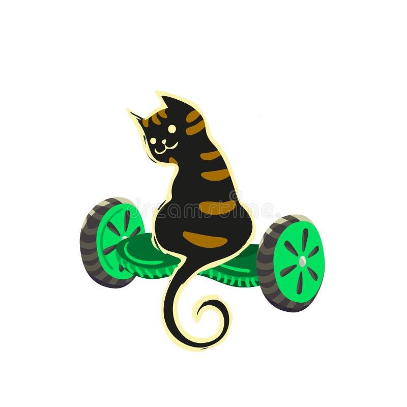En svart katt för tecknad film ser omkring och att sitta på ett gyroskop Vektorillustration från roliga katter för en serie royaltyfri illustrationer