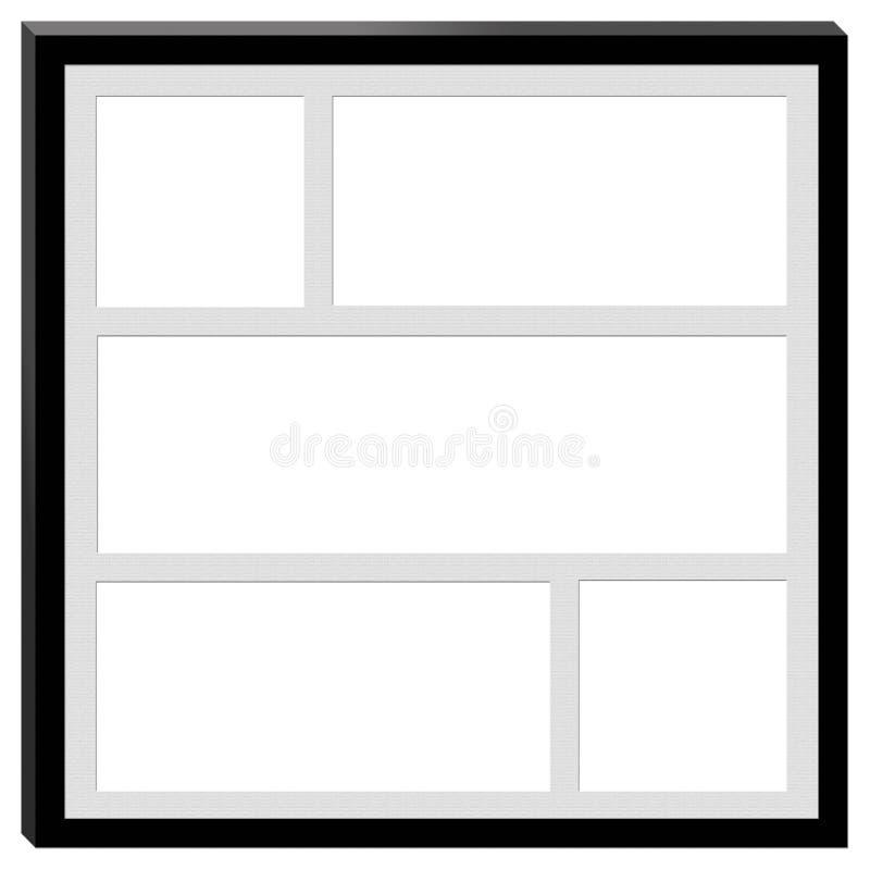 En svart ram med utrymme för fem fotografier royaltyfria bilder