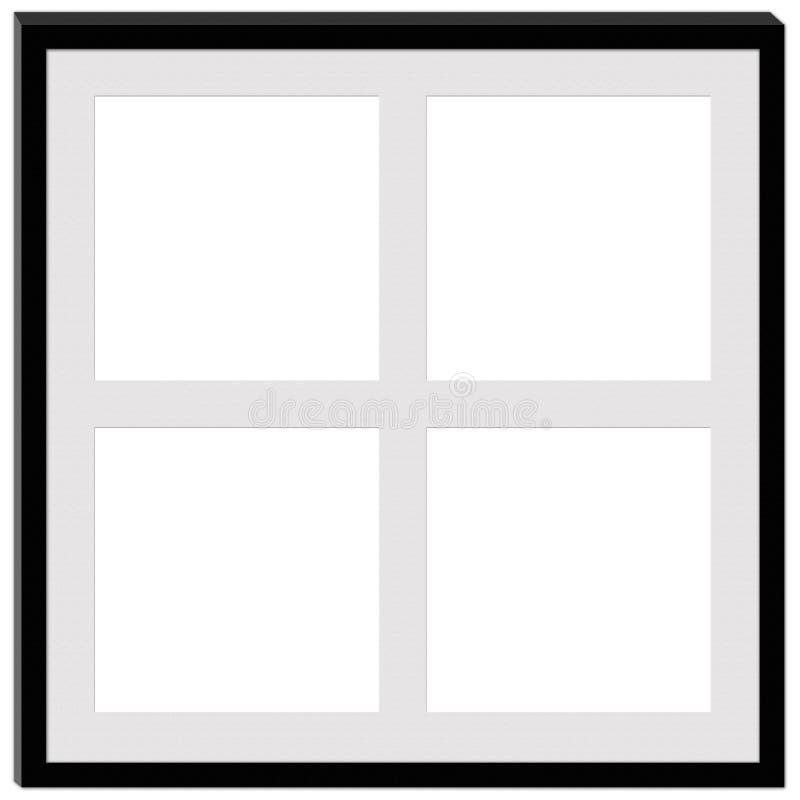 En svart ram med utrymme för fyra fotografier fotografering för bildbyråer