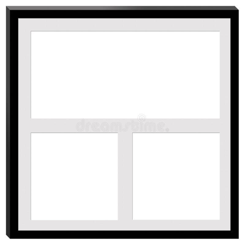 En svart ram med utrymme för tre fotografier arkivfoton