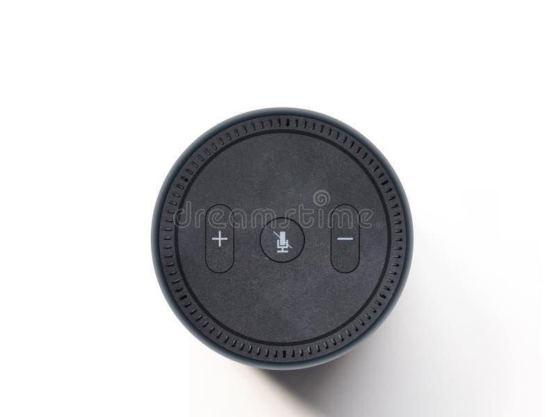 En svart trådlös högtalare och en assistent för digital stämma som isoleras på en vanlig vit bakgrund; royaltyfri foto