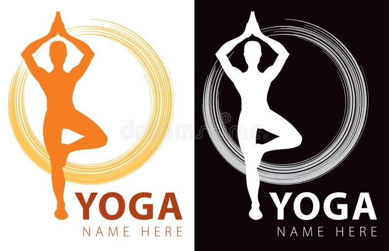 Yogalogo vektor illustrationer