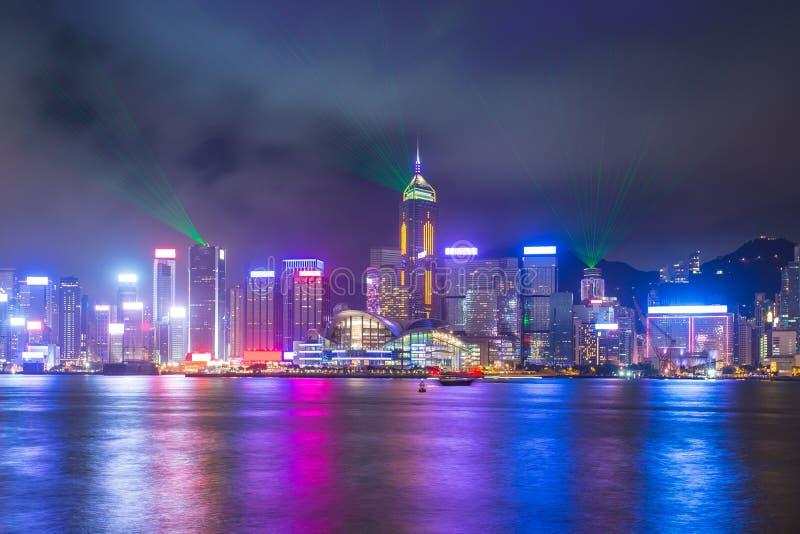En symfoni av ljus visar i Hong Kong, Kina arkivfoto