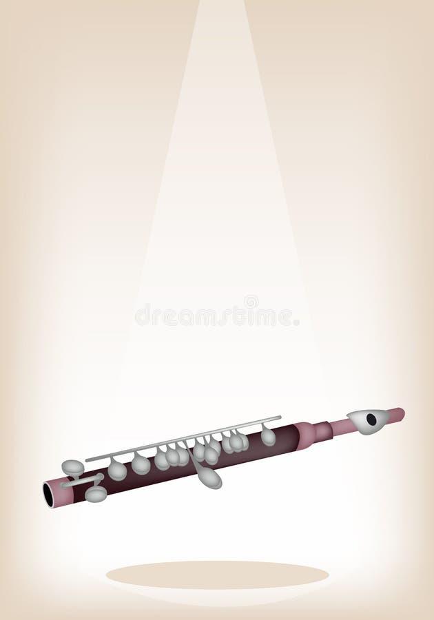 En Symphonic pickolaflöjt på brun etappbakgrund stock illustrationer