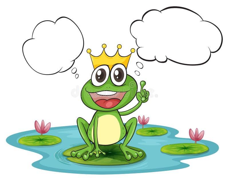 En tänkande groda med en krona stock illustrationer