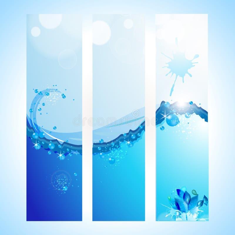 En-tête abstrait de fond avec l'onde d'eau illustration stock