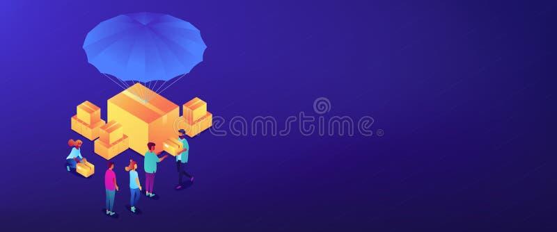 En-tête aidisometric humanitaire de la bannière 3D illustration de vecteur