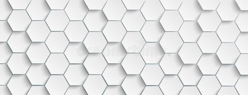 En-tête blanc de fond de structure d'hexagone illustration libre de droits