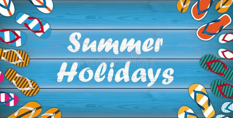 En-tête en bois de centre de fond de bascules de vacances d'été illustration libre de droits