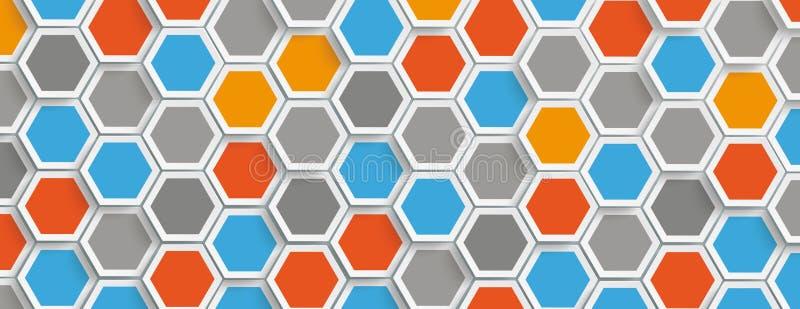 En-tête coloré de fond de structure d'hexagone illustration de vecteur