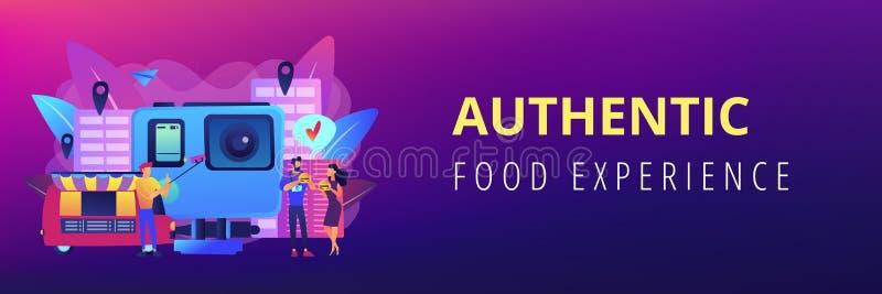 En-tête culinaire de bannière de concept de tourisme illustration stock