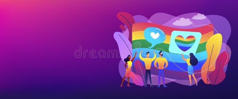 En-tête de bannière de concept d'identité de sexualité et de genre illustration de vecteur