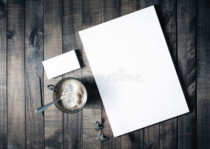 En-tête de lettre, café et cartes de visite professionnelle de visite images libres de droits