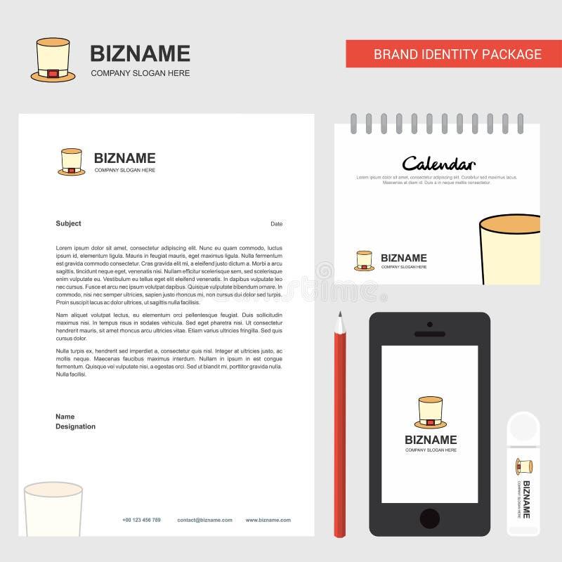 En-tête de lettre d'affaires de chapeau de magicien, calendrier 2019 et calibre mobile de vecteur de conception d'appli illustration libre de droits