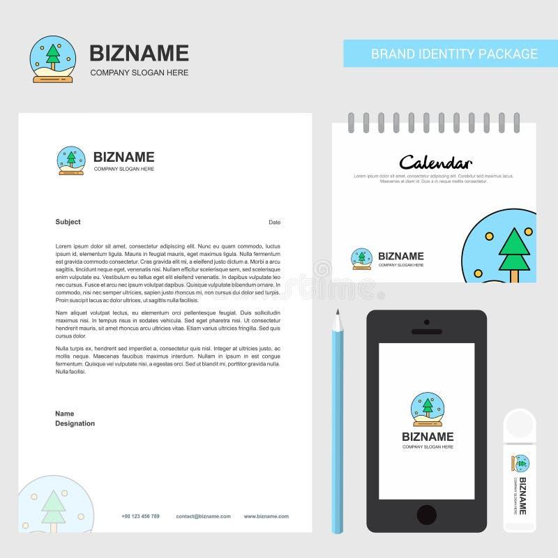 En-tête de lettre d'affaires de globe de Noël, calendrier 2019 et calibre mobile de vecteur de conception d'appli illustration stock