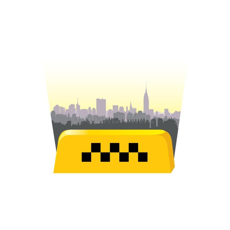 En-tête de service de taxi Fond de ville de signe de taxi Citysc de taxi d'appel illustration de vecteur