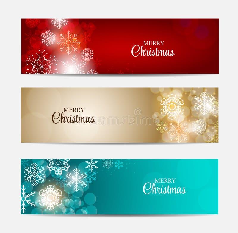 En-tête de site Web de flocons de neige de Noël et ensemble de bannière illustration libre de droits
