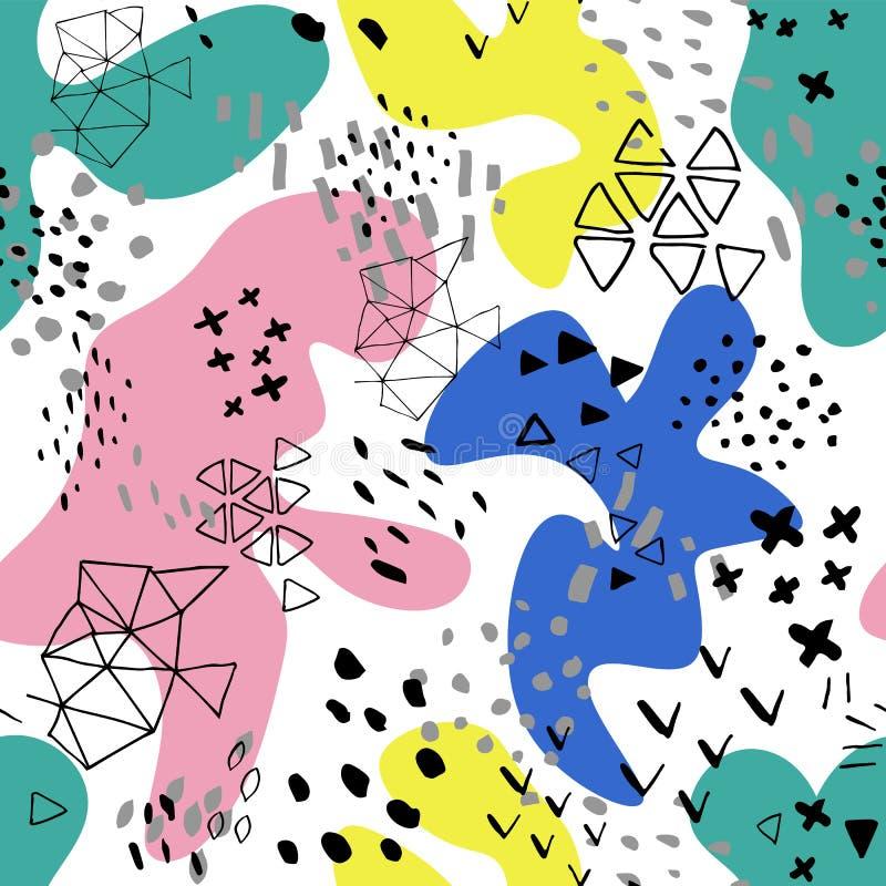 En-t?te cr?atif d'art de griffonnage avec diff?rentes formes et textures collage Fond abstrait de bande dessinée d'éclaboussure d illustration stock