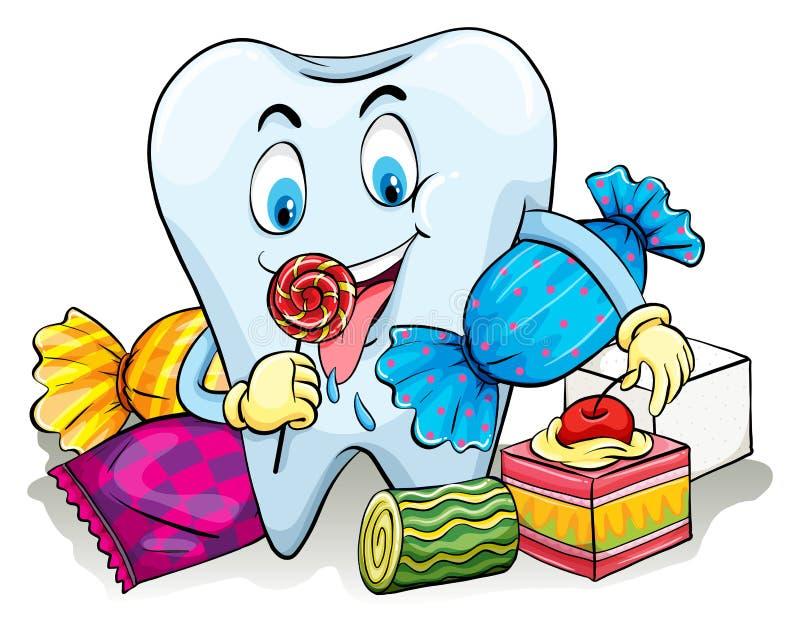 En tand med godisar stock illustrationer