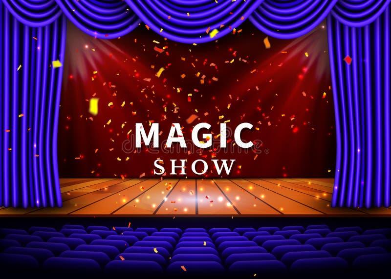 En teateretapp med en blå gardin och ett strålkastare- och trägolv Magisk showaffisch vektor stock illustrationer