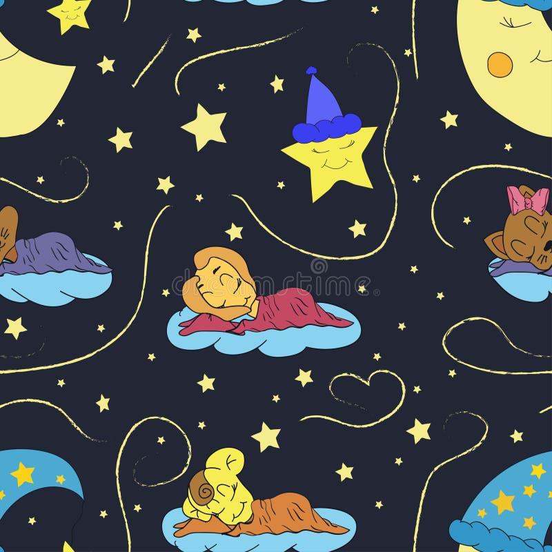 En tecknad filmillustration av den sömlösa modellhandteckningen av en le måne, stjärnorna och det sova barnet Passande för inre royaltyfri illustrationer