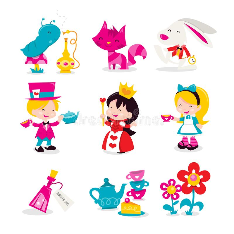 En tecknad filmvektorillustration av nyckfulla retro Alice In Wonderland temasymboler och tecken Bland annat i denna uppsättning: vektor illustrationer
