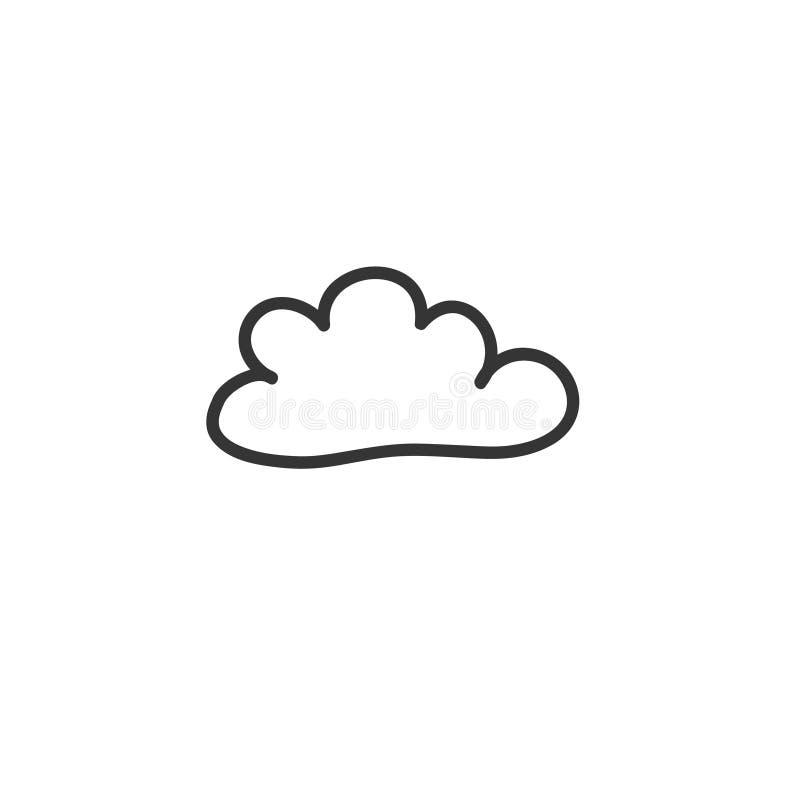 En teckning för klotterstilmoln Vektorteckning vid handen Ett symbol av vädret stock illustrationer