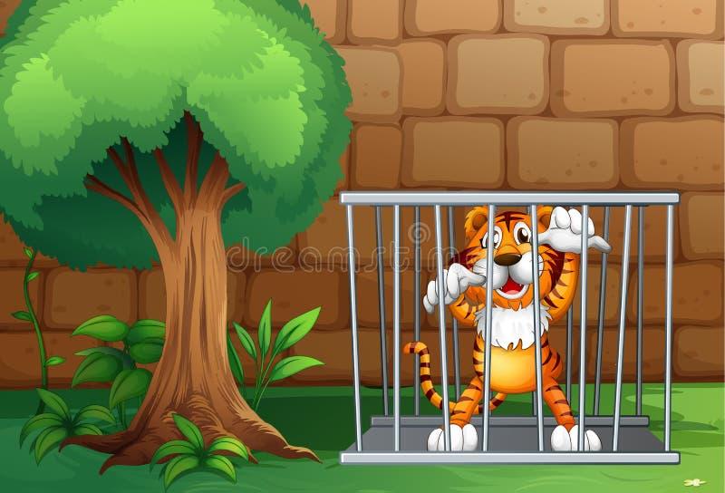 En tiger i en bur som göras av stål royaltyfri illustrationer