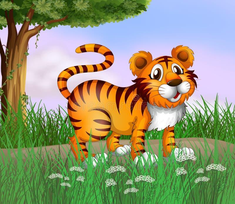 En tiger och en härlig natur stock illustrationer